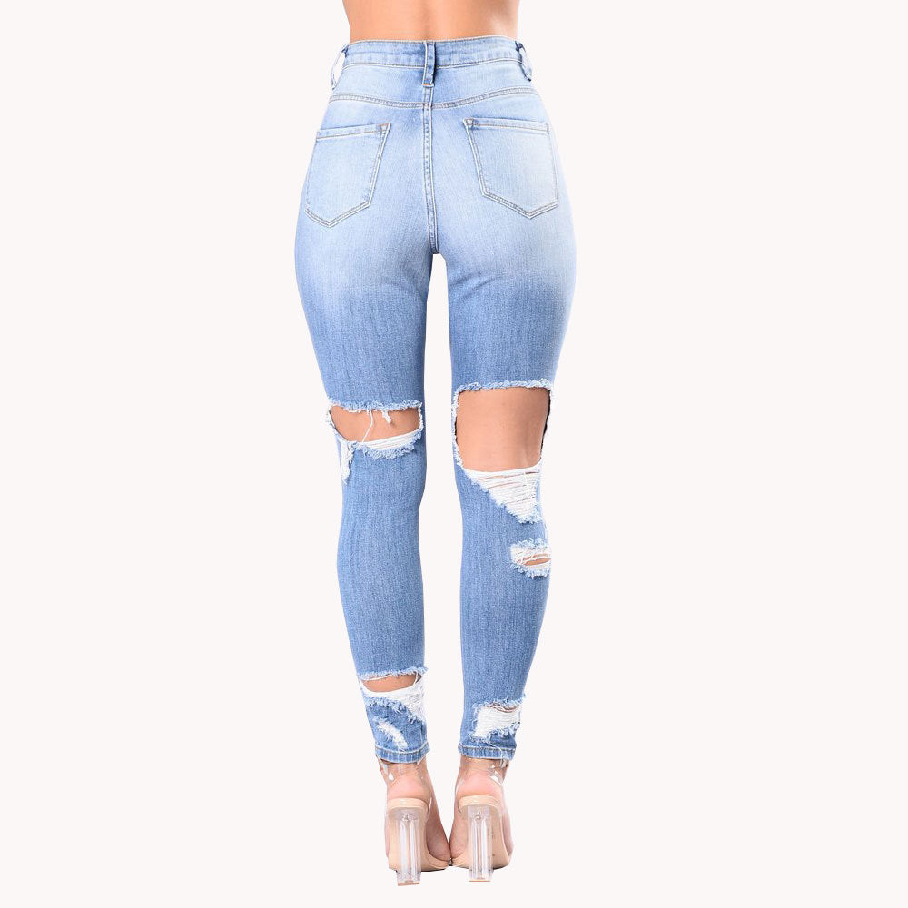 Land of Nostalgia Women's Stretch Denim Ripped Trousers Skinny Hole Jeans