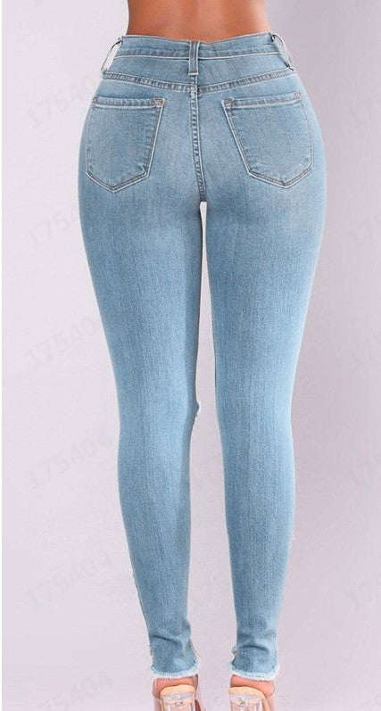 Land of Nostalgia High Waist Women's Western Style Ripped Denim Jeans