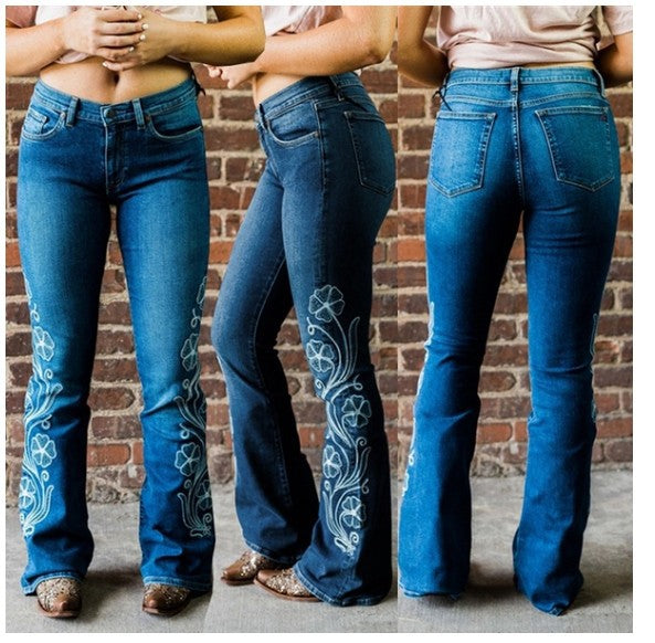 Land of Nostalgia Flares Denim Pants Women's Skinny Embroidered Jeans