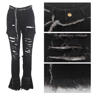 Land of Nostalgia High Waist Bell Bottom Women's Ripped Flare Jeans