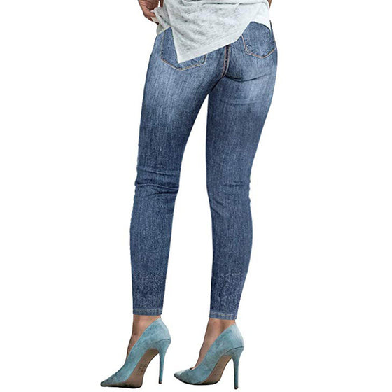 Land of Nostalgia High Waist Skinny Ripped Trousers Pants Stretch Women's Jeans