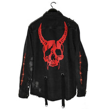 Land of Nostalgia Plus Size Men's Harajuku Demon Skull Rock Punk Denim Jacket
