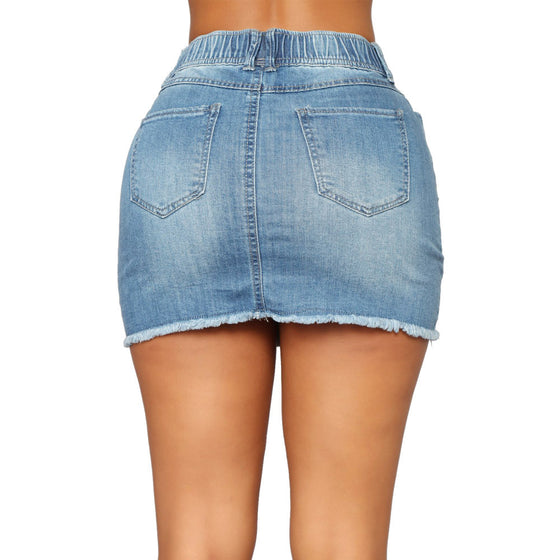 Land of Nostalgia Women's Elastic Waist Blue Denim Short Dress Skirt