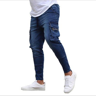 Land of Nostalgia Men's Casual Trousers Denim Cargo Pants with Side Pockets Jeans