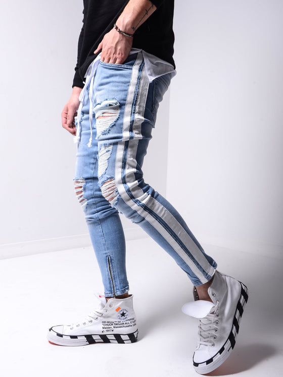 Land of Nostalgia Men's Trousers Denim Skinny Ripped Jeans with Side Striped