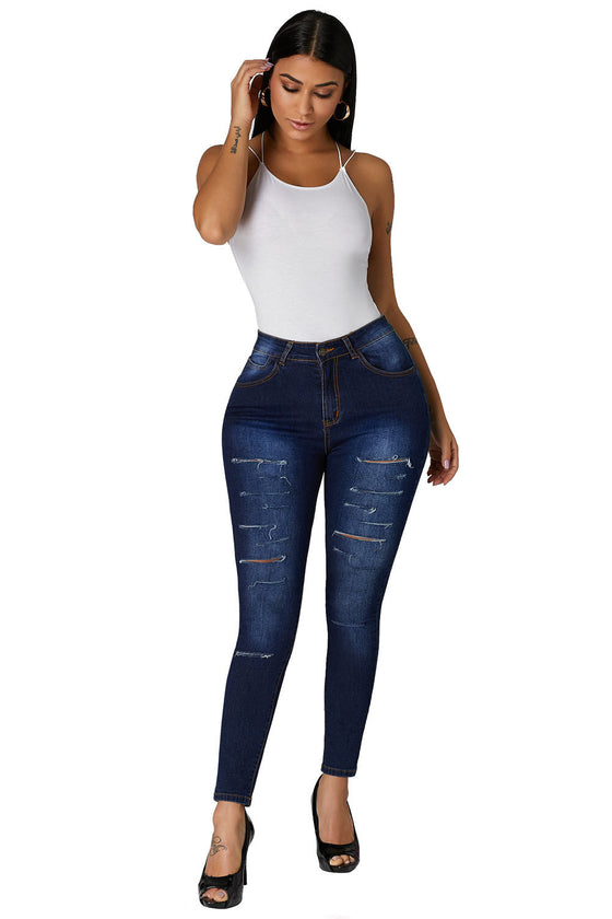 Land of Nostalgia High Waist Skinny Ripped Jeans Women's Stretch Long Pants