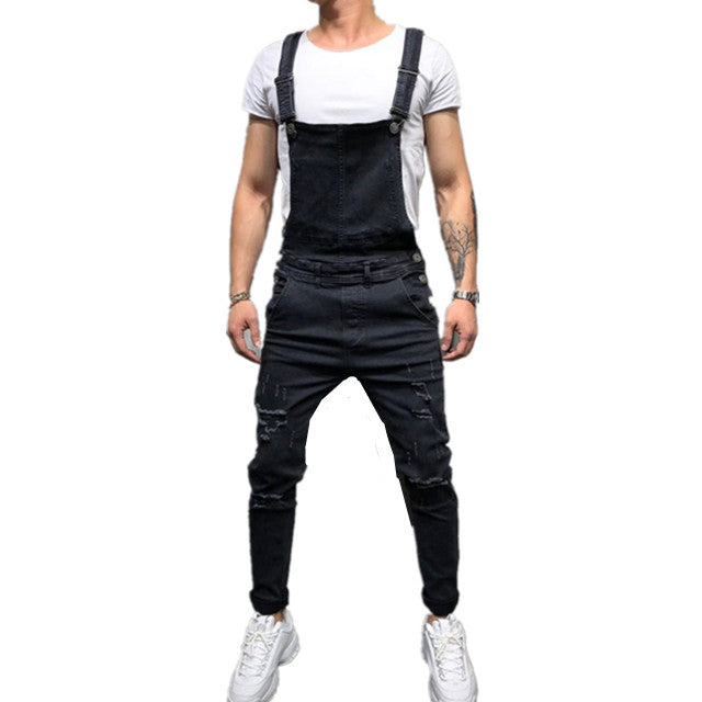 Land of Nostalgia Overalls Ripped Trousers Pants Jumpsuit Denim Men Jeans
