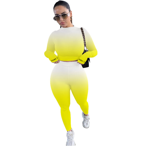 Land of Nostalgia Women's Casual Gradient Sexy Ramp Sweat Suits Set