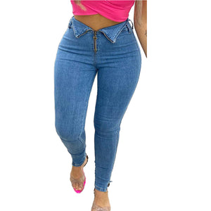 Land of Nostalgia High Waist Stretch Slim Pencil Women's Trousers Zipper Jeans