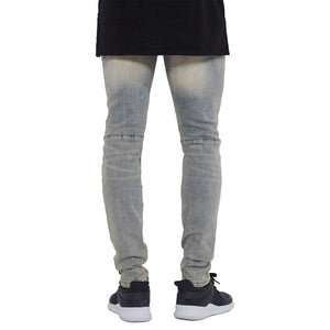 Land of Nostalgia Men's Italy Distressed Pants Skinny Biker Jeans Slim Trousers
