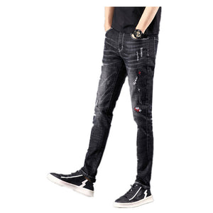 Land of Nostalgia Ripped Men's Casual Trousers Pants Super Skinny Embroidered Jeans