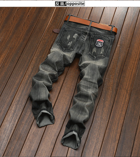 Land of Nostalgia Distressed Men's Casual Straight Skinny Denim Pants Jeans