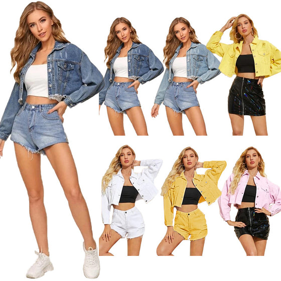 Land of Nostalgia Women's Denim Jeans Coat Jacket