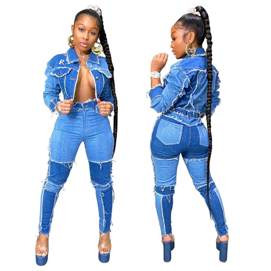 Land of Nostalgia High Waist Flared Tight Women's Denim Trousers Jeans