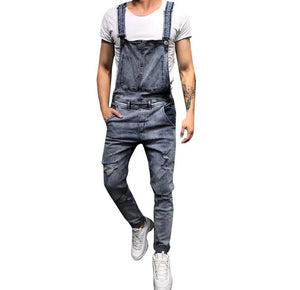 Land of Nostalgia Men's Overall Pants Trousers Ripped Jumpsuit Jeans