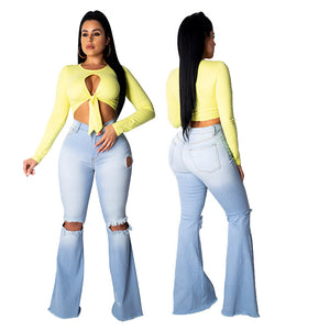 Land of Nostalgia Customized Bell Bottom Wide Leg Knee Ripped Flare Jeans
