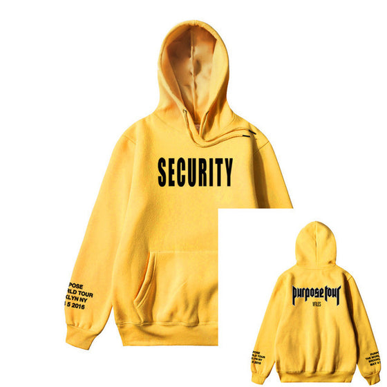 Land of Nostalgia Security Purpose Tour Print Men's Hoodie Yellow Pullover Sweater