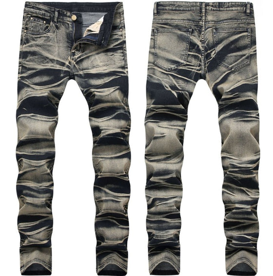 Land of Nostalgia Men's Straight Casual Pants Hand Drawn Print Trousers Jeans