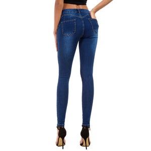Land of Nostalgia High Waist Elastic Ripped Pants Women's Skinny Denim Jeans