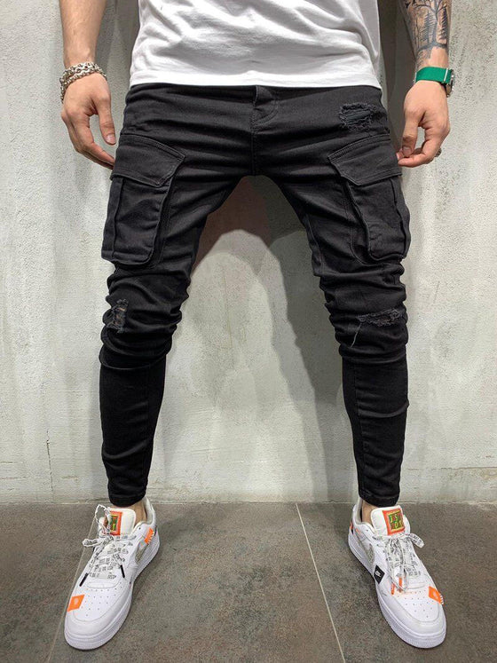 Land of Nostalgia Men's Fashion Hip Hop Cargo Pants with Side Pockets Trousers Jeans