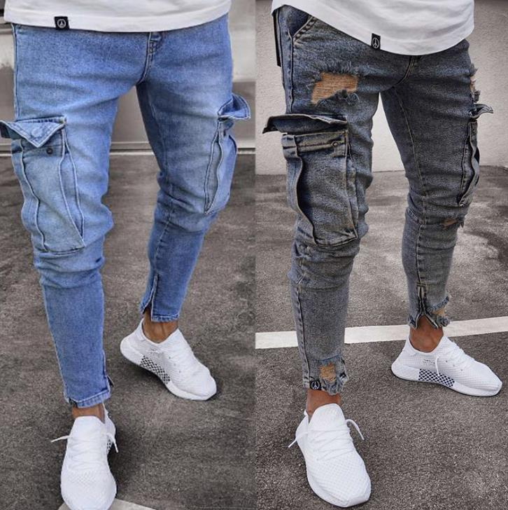 Land of Nostalgia Men's Skinny Pocket Ripped Jeans Trousers Pants