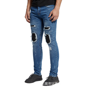 Land of Nostalgia Men's Ripped Biker Boys Jeans