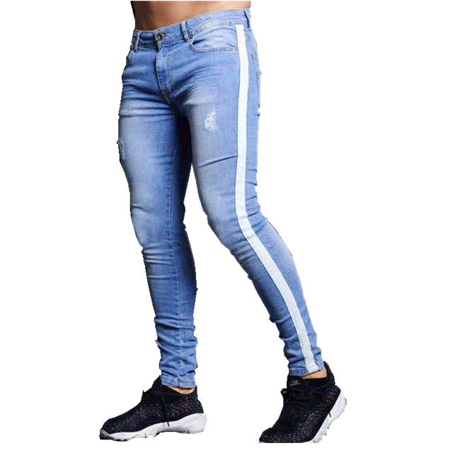 Land of Nostalgia Men's Denim Skinny Pants Jeans with Side Stripe