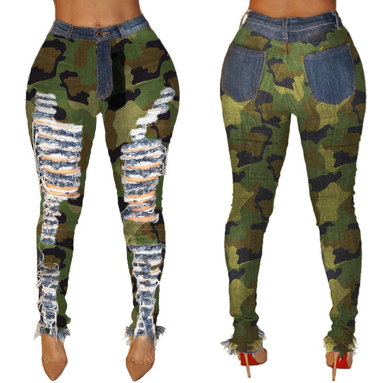 Land of Nostalgia High Waist Camouflage Distressed Trousers Women's Denim Ripped Jeans