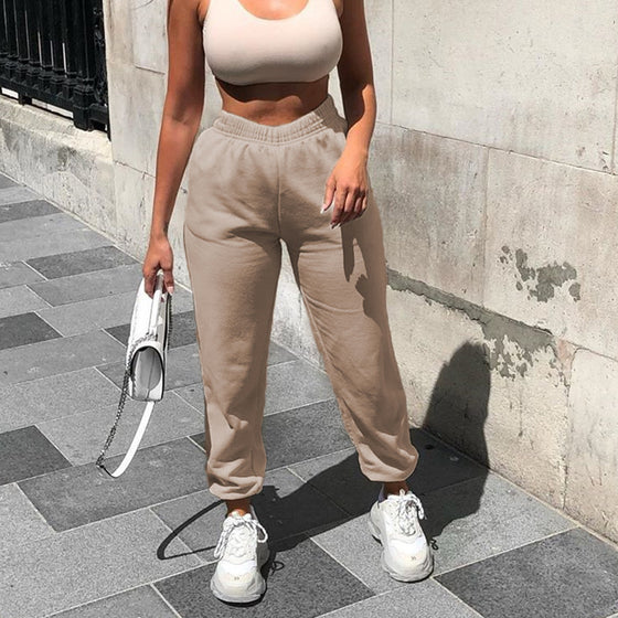 Land of Nostalgia Elastic Waist Women's Knitting Casual Pocket Trousers Cargo Sweat Jogger Pants