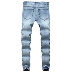 Land of Nostalgia Best Quality Blue Denim Fabric Trousers Pants Man Ripped Skinny Jeans Men