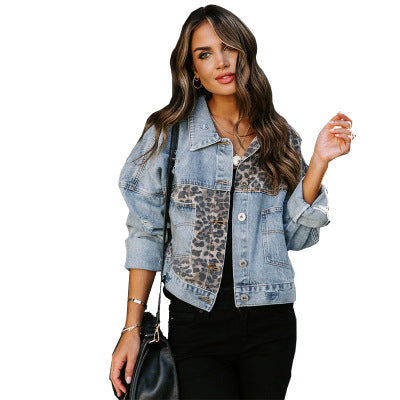 Land of Nostalgia Women's Plus Size Leopard Print Casual Jeans Jacket