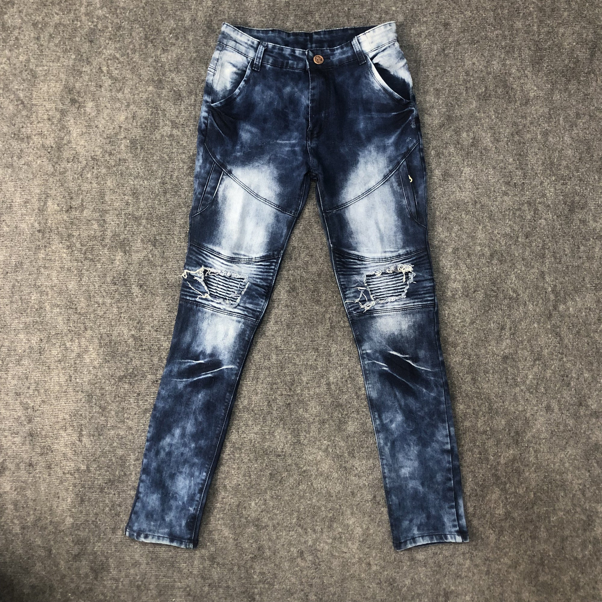 Land of Nostalgia Distressed Men's Blue Washed Cargo Skinny Denim Jeans