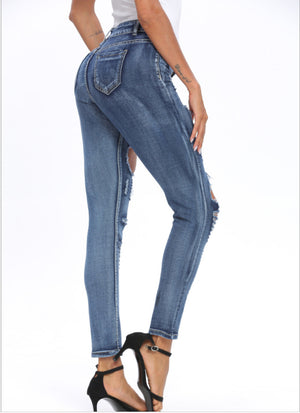 Land of Nostalgia Blue Denim Ripped Women's Euphoria Infused Skinny Jeans
