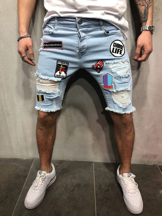 Land of Nostalgia Men's Casual Patches Denim Pants Ripped Jeans Shorts