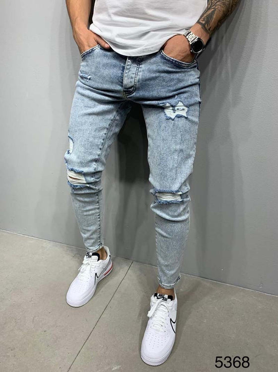 Land of Nostalgia Stretch Denim Men's Skinny Ripped Long Jeans
