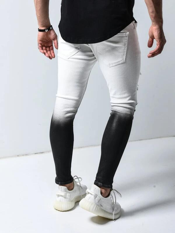 Land of Nostalgia New Gradient Black White Skinny Jeans Men Ripped Ankle zipper Pencil Pants trousers slim hip hop jeans