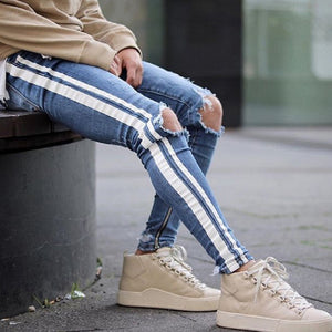 Land of Nostalgia Men's Blue Skinny Fit Casual Trousers Jeans with Side Stripe