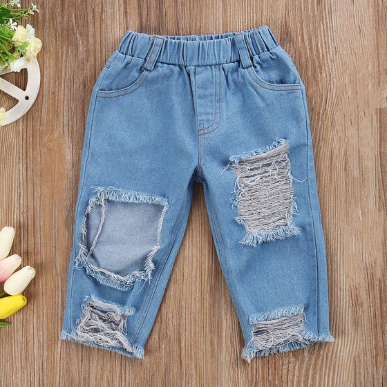 Land of Nostalgia Kids Girls Stretch Ripped Cotton Denim Jeans (2-8T)