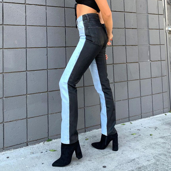 Land of Nostalgia Women's Fashion Two Colors Street Denim Wide Legs Denim Jeans