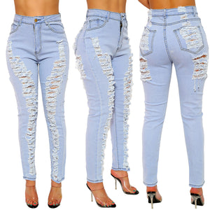 Land of Nostalgia High Waist Destroyed Stretch Hole Pencil Pants Women's Skinny Ripped Denim Jeans