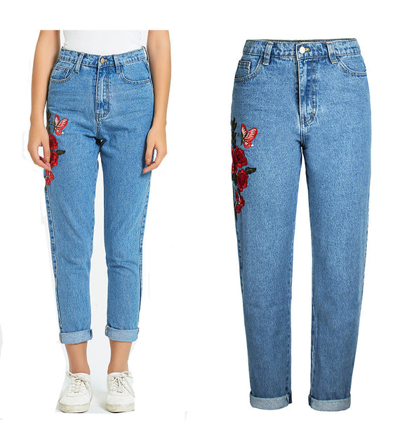 Land of Nostalgia Straight Loose Women's Blue Denim Embroidery Jeans