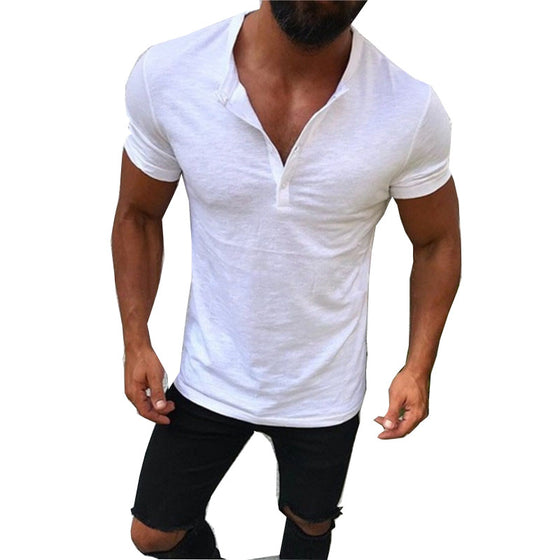 Land of Nostalgia Men's New Fashion Summer 2020 Short Sleeve V-neck Tee