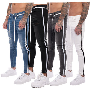 Land of Nostalgia Men's Denim Trousers Skinny Ripped Jeans with Side Stripe