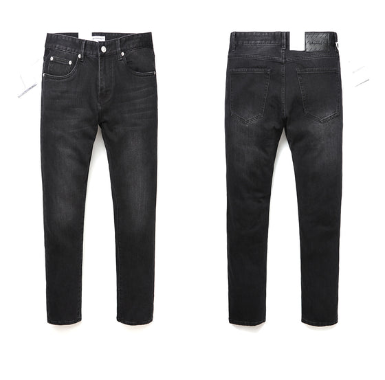Land of Nostalgia Men's Skinny Denim Ripped Trousers Elastic Jeans