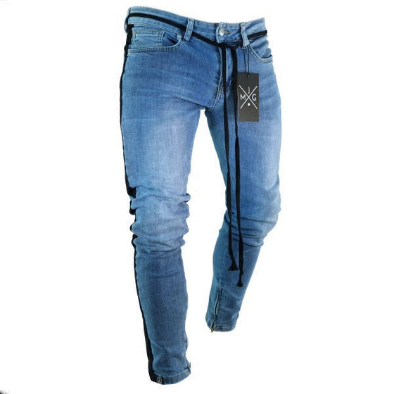 Land of Nostalgia Men's Fashion Skinny Hole Trousers Pencil Pants Ripped Jeans with Side Stripe