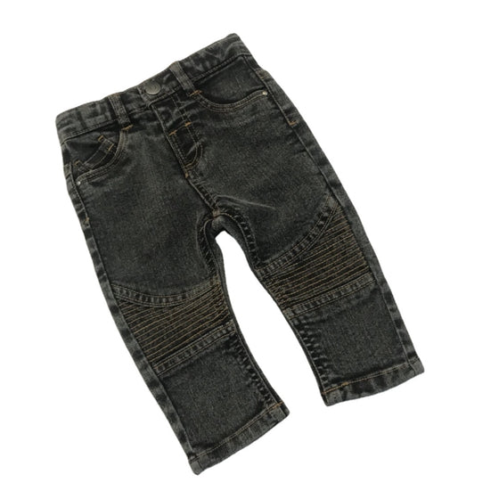 Land of Nostalgia Boys Wide Leg Elastic Waist Straight Cotton Denim Pants