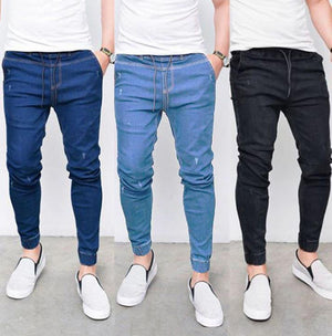 Land of Nostalgia Men's Casual Drawstring Stretch Skinny Ripped Jeans