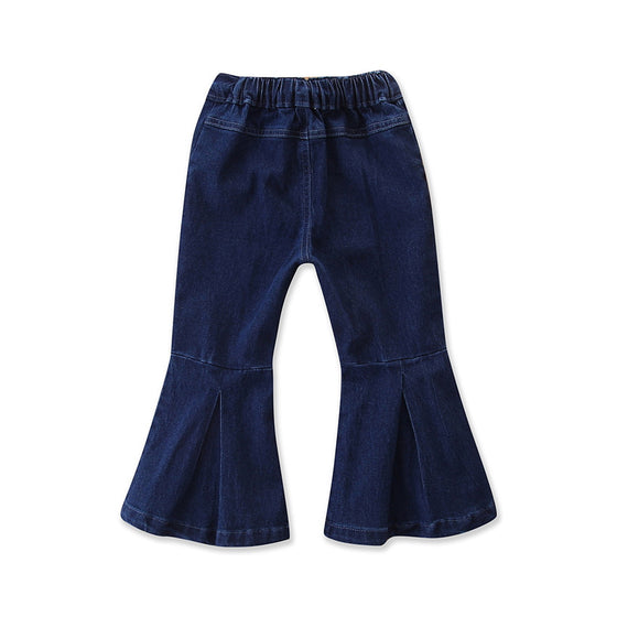 Land of Nostalgia Toddler Child Kids Girls Wide Leg Bell Bottom Flare Pants Jeans Trousers (2-6 yrs old)