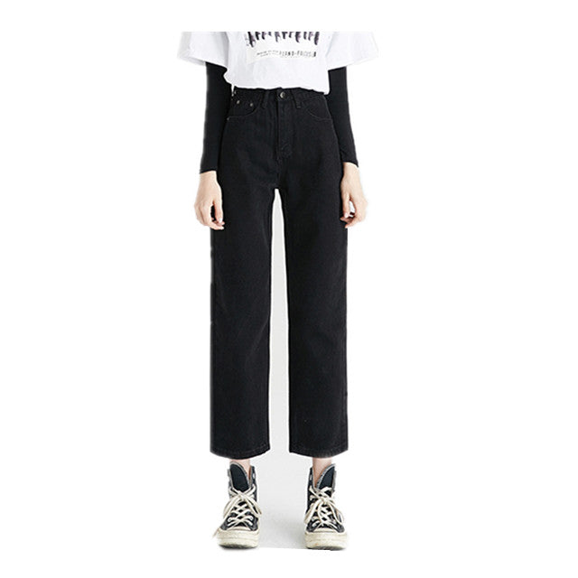 Land of Nostalgia High Waist Straight Fraying Pants Women's Casual Loose Jeans