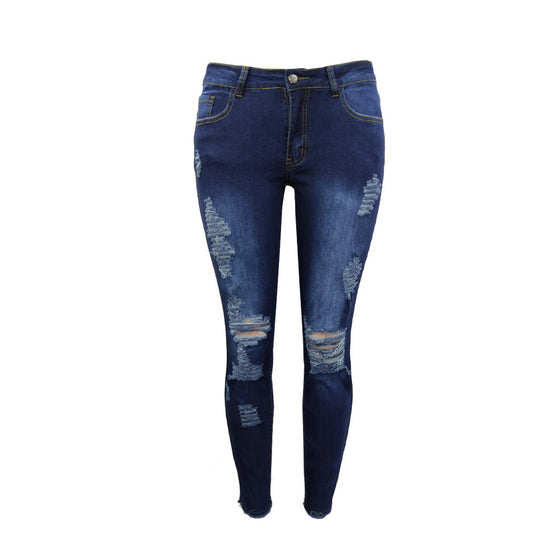 Land of Nostalgia High Waist Stretch Trousers Ripped Pants Women's Skinny Jeans